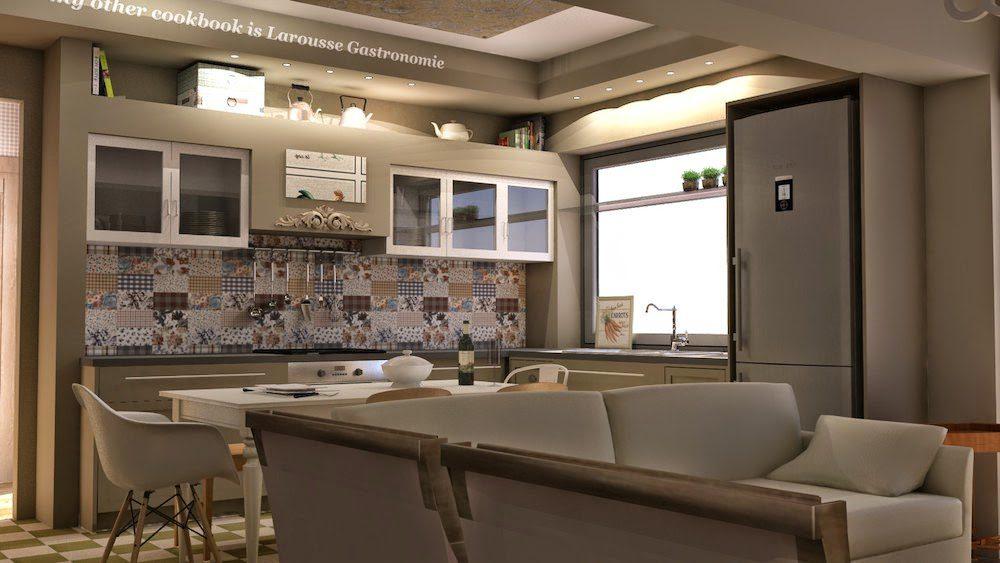 Σε αυτή την περίπτωση η κουζίνα χωρίστηκε σε δύο ζώνες και περιβάλλει την κύρια τραπεζαρία του διαμερίσματος. Η γωνία προσφέρει θέα στον εξωτερικό χώρο, μεγάλο παράθυρο με ρόλο πάσου καθώς και όλα τα απαραίτητα για την παρασκευή του φαγητού. Απέναντι υπάρχει μια επιτοίχια κατασκευή με σκάλα που προσφέρει coffee station χώρο και χώρους αποθήκευσης σκευών και τροφίμων. Τα ερμάρια άνω πάγκου είναι σχεδιασμένα ώστε να εντοιχίζονται σε κατασκευή που κρύβει επιτυχώς τον απορροφητήρα. Το αποτέλεσμα είναι ένα έπιπλο-κουζίνα που αρμόζει να βρίσκεται δίπλα σε μια τραπεζαρία.