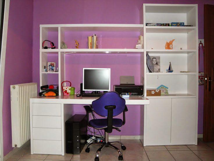 Γραφείο-βιβλιοθήκη για εφηβικό δωμάτιο λιτό και λειτουργικό.